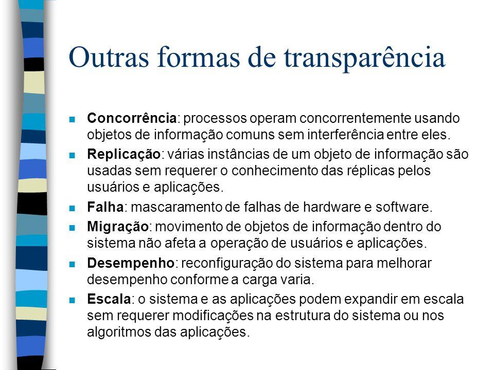 Outras formas de transparência n Concorrência: processos operam concorrentemente usando objetos de informação comuns sem interferência entre eles. n R