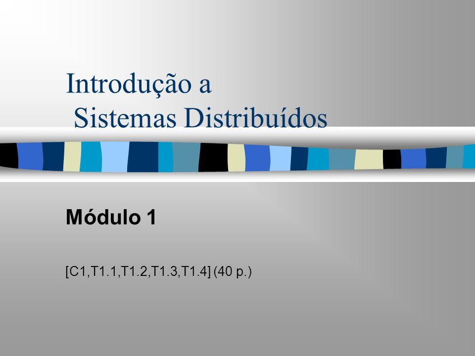 Introdução a Sistemas Distribuídos Módulo 1 [C1,T1.1,T1.2,T1.3,T1.4] (40 p.)
