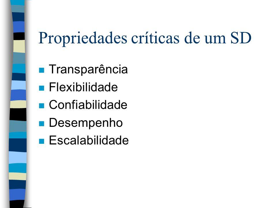 Propriedades críticas de um SD n Transparência n Flexibilidade n Confiabilidade n Desempenho n Escalabilidade