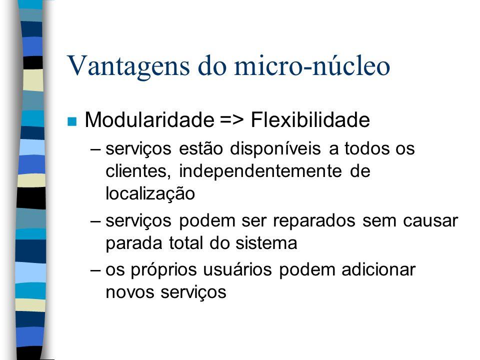 Vantagens do micro-núcleo n Modularidade => Flexibilidade –serviços estão disponíveis a todos os clientes, independentemente de localização –serviços