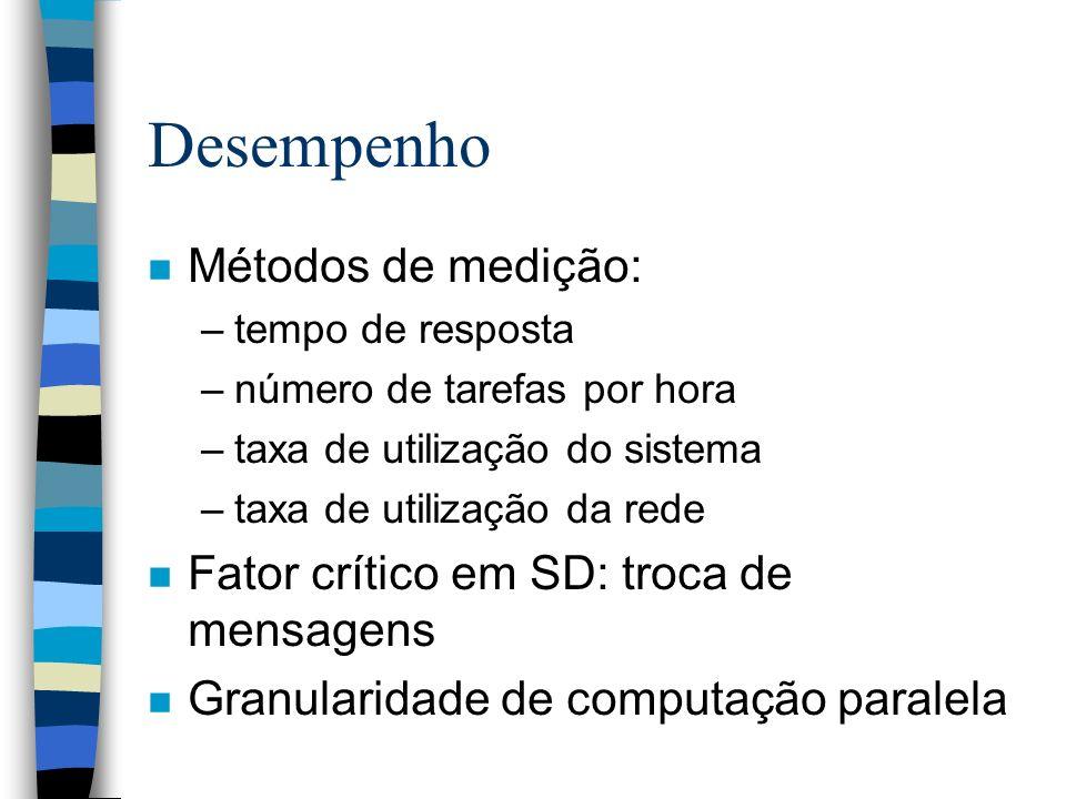 Desempenho n Métodos de medição: –tempo de resposta –número de tarefas por hora –taxa de utilização do sistema –taxa de utilização da rede n Fator crí