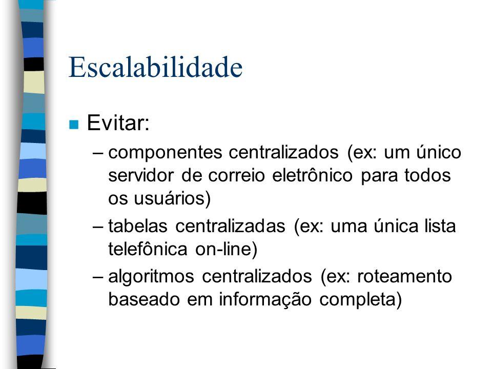Escalabilidade n Evitar: –componentes centralizados (ex: um único servidor de correio eletrônico para todos os usuários) –tabelas centralizadas (ex: u