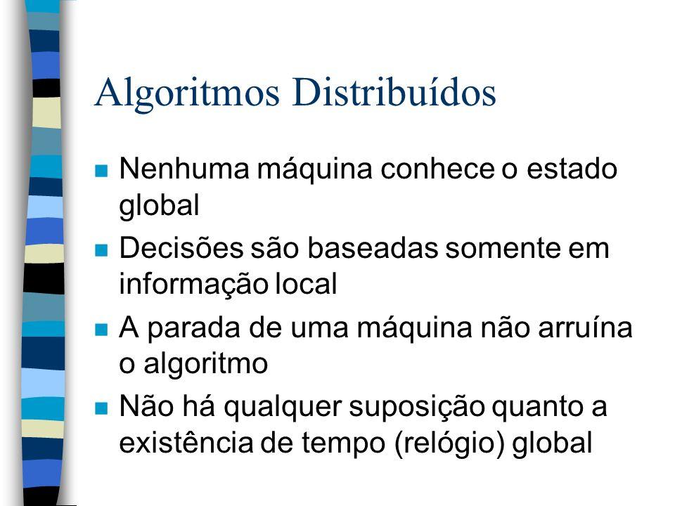Algoritmos Distribuídos n Nenhuma máquina conhece o estado global n Decisões são baseadas somente em informação local n A parada de uma máquina não ar