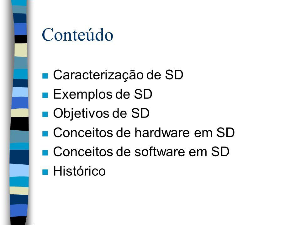 Conteúdo n Caracterização de SD n Exemplos de SD n Objetivos de SD n Conceitos de hardware em SD n Conceitos de software em SD n Histórico