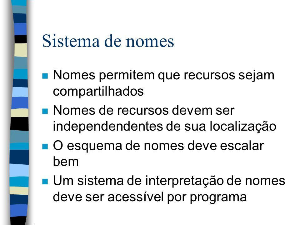 Sistema de nomes n Nomes permitem que recursos sejam compartilhados n Nomes de recursos devem ser independendentes de sua localização n O esquema de n