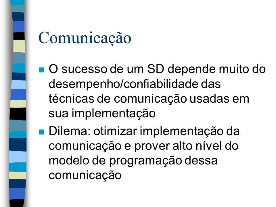 Comunicação n O sucesso de um SD depende muito do desempenho/confiabilidade das técnicas de comunicação usadas em sua implementação n Dilema: otimizar