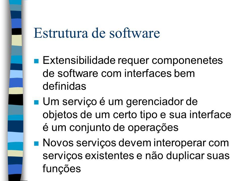 Estrutura de software n Extensibilidade requer componenetes de software com interfaces bem definidas n Um serviço é um gerenciador de objetos de um ce