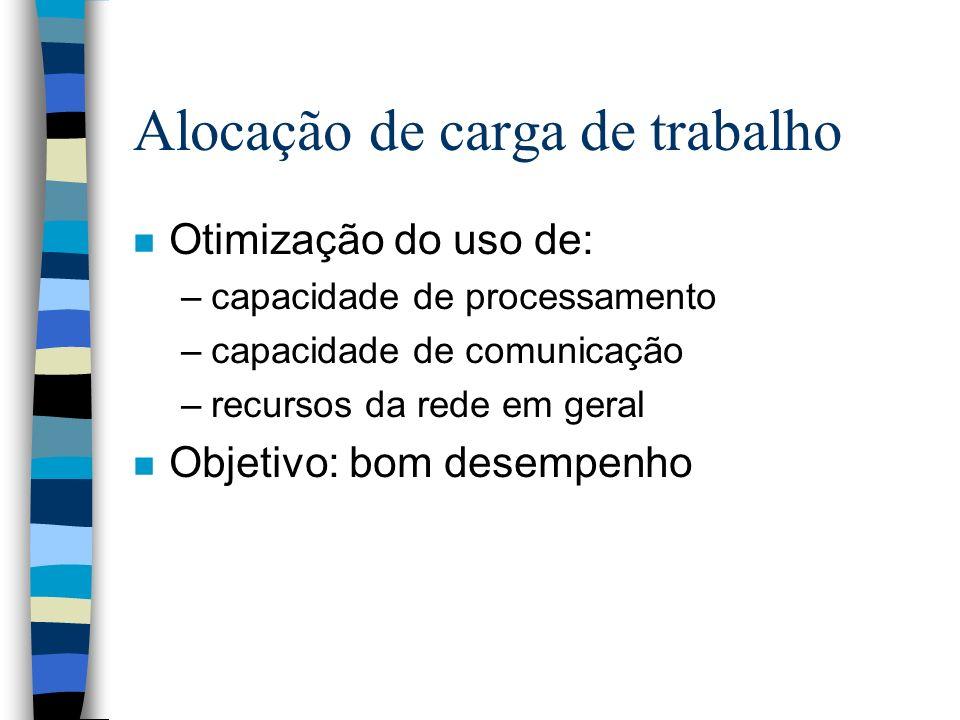Alocação de carga de trabalho n Otimização do uso de: –capacidade de processamento –capacidade de comunicação –recursos da rede em geral n Objetivo: b