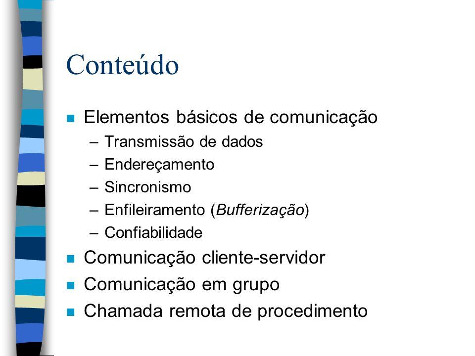 Conteúdo n Elementos básicos de comunicação –Transmissão de dados –Endereçamento –Sincronismo –Enfileiramento (Bufferização) –Confiabilidade n Comunic