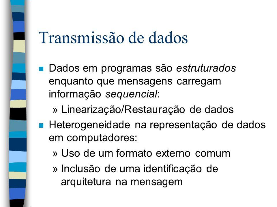 Transmissão de dados n Dados em programas são estruturados enquanto que mensagens carregam informação sequencial: » Linearização/Restauração de dados