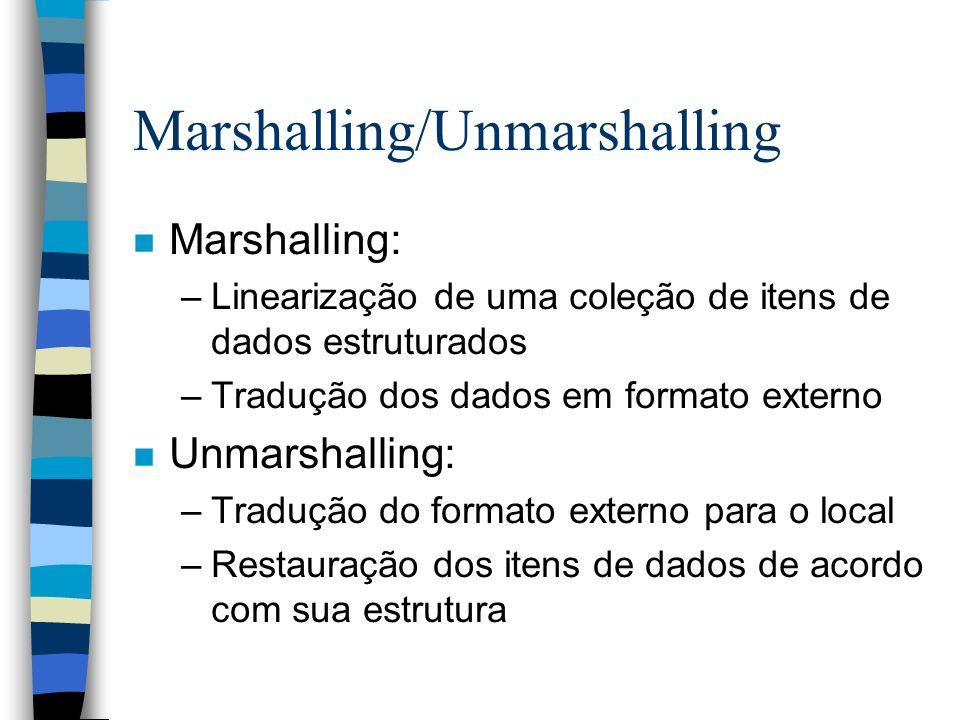 Marshalling/Unmarshalling n Marshalling: –Linearização de uma coleção de itens de dados estruturados –Tradução dos dados em formato externo n Unmarsha