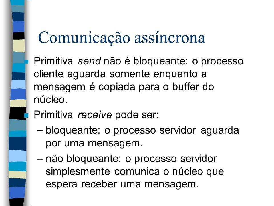 Comunicação assíncrona n Primitiva send não é bloqueante: o processo cliente aguarda somente enquanto a mensagem é copiada para o buffer do núcleo. n
