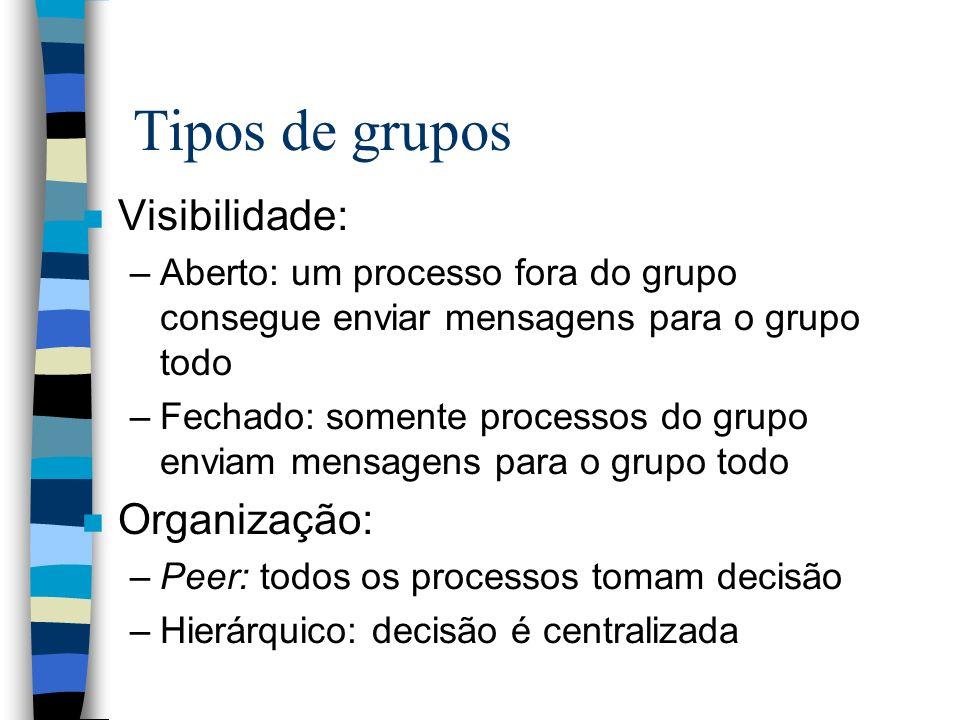Tipos de grupos n Visibilidade: –Aberto: um processo fora do grupo consegue enviar mensagens para o grupo todo –Fechado: somente processos do grupo en