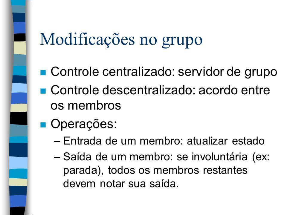 Modificações no grupo n Controle centralizado: servidor de grupo n Controle descentralizado: acordo entre os membros n Operações: –Entrada de um membr
