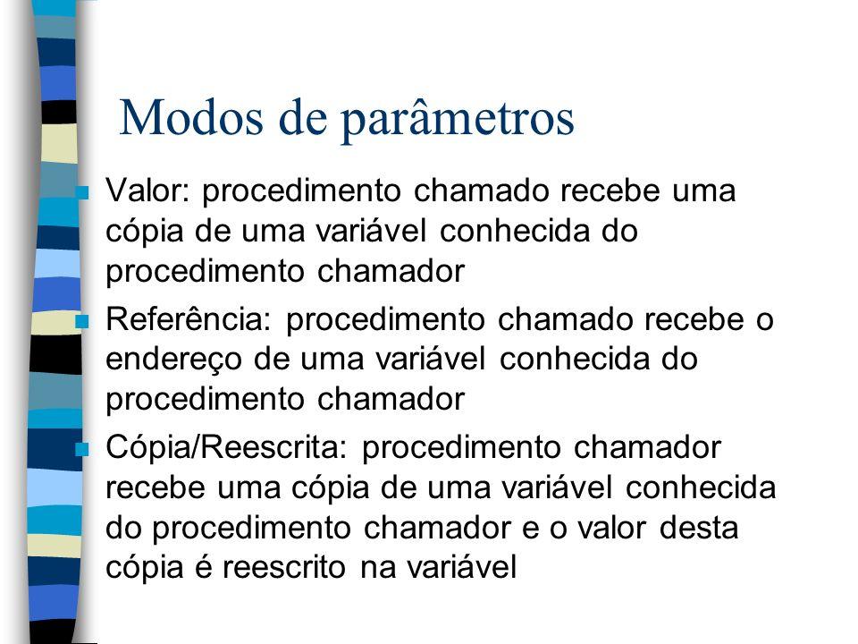 Modos de parâmetros n Valor: procedimento chamado recebe uma cópia de uma variável conhecida do procedimento chamador n Referência: procedimento chama