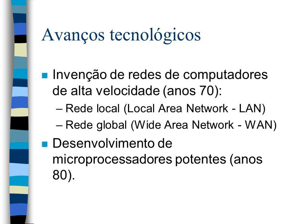 Avanços tecnológicos n Invenção de redes de computadores de alta velocidade (anos 70): –Rede local (Local Area Network - LAN) –Rede global (Wide Area