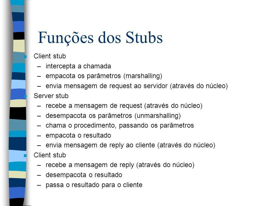 Funções dos Stubs n Client stub –intercepta a chamada –empacota os parâmetros (marshalling) –envia mensagem de request ao servidor (através do núcleo)