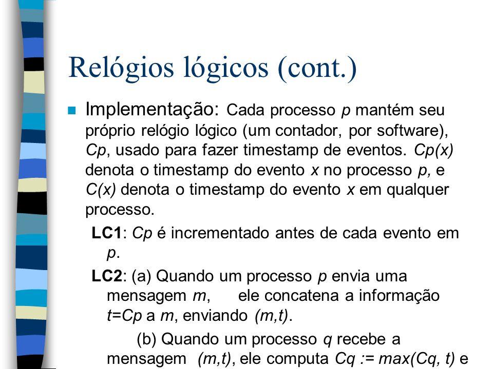 n Implementação: Cada processo p mantém seu próprio relógio lógico (um contador, por software), Cp, usado para fazer timestamp de eventos. Cp(x) denot