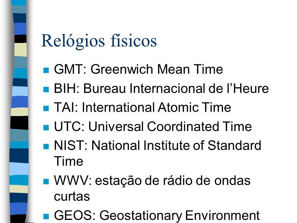 Relógios físicos n GMT: Greenwich Mean Time n BIH: Bureau Internacional de lHeure n TAI: International Atomic Time n UTC: Universal Coordinated Time n