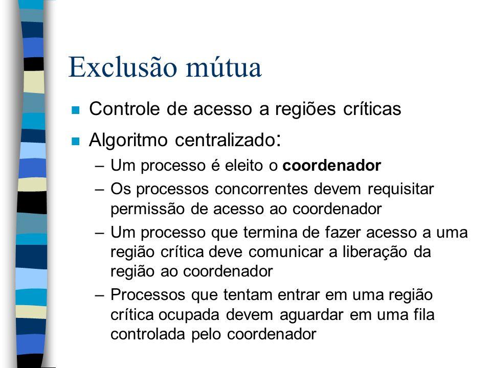Exclusão mútua n Controle de acesso a regiões críticas n Algoritmo centralizado : –Um processo é eleito o coordenador –Os processos concorrentes devem