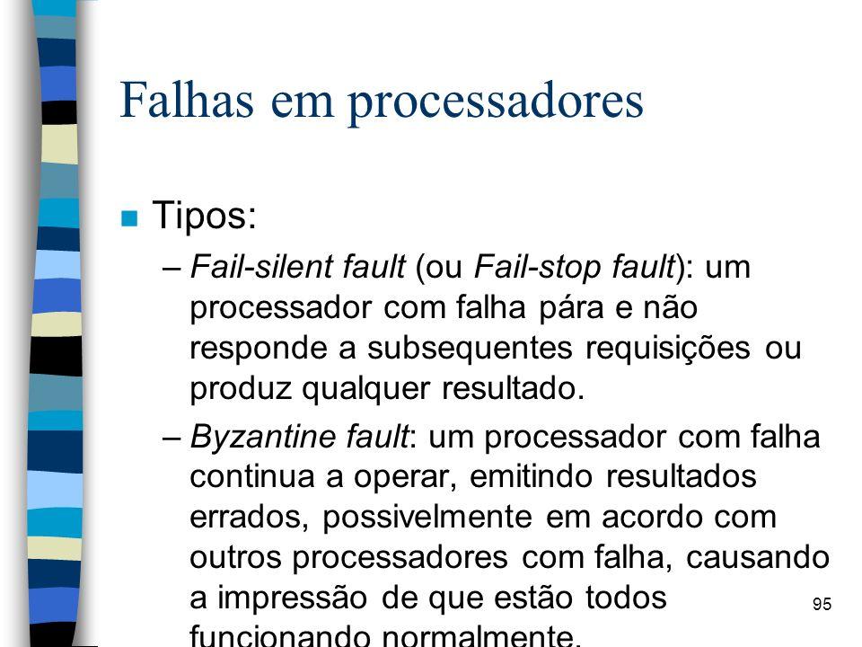 95 Falhas em processadores n Tipos: –Fail-silent fault (ou Fail-stop fault): um processador com falha pára e não responde a subsequentes requisições o