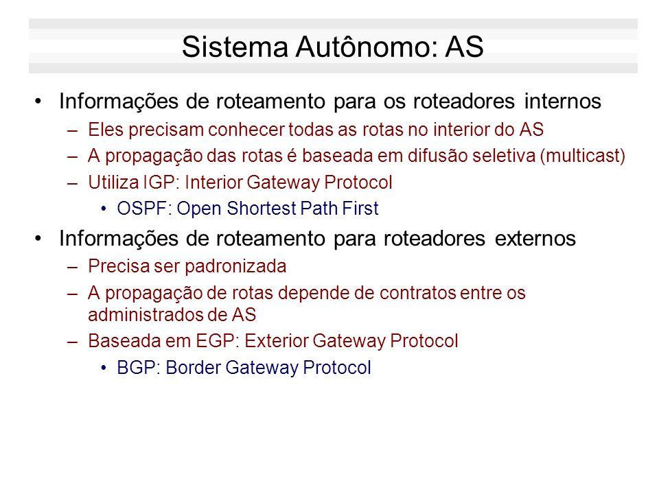 Tipos de Roteadores no AS Exterior Gateways –Troca informações com roteadores pertencentes a outros AS. –Equipamento muito caro, com alta capacidade d