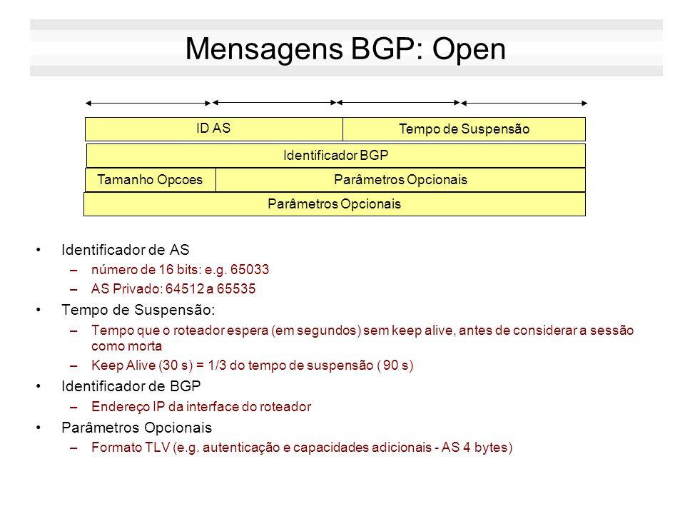 Cabeçalho BGP Marcação (16 bytes) –campo obsoleto, não é mais utilizado (preenchido com 0xff) Tamanho (2 bytes) –máximo 4096 bytes Tipo da mensagem (1