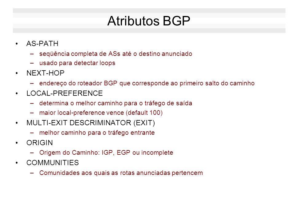 Mensagem BGP: Update A mensagem de update permite adicionar ou remover novas rotas. Ela é composta de 3 seções: –Rotas Retiradas (Unfeasible Routes) e