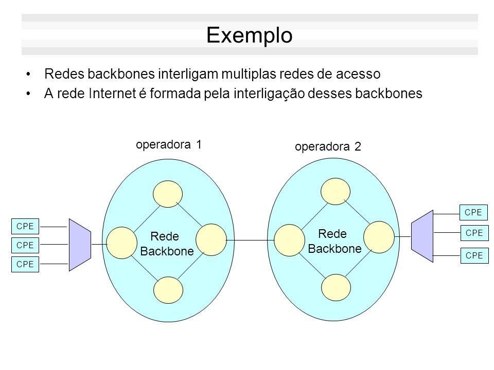 Exemplo Redes backbones interligam multiplas redes de acesso A rede Internet é formada pela interligação desses backbones Rede Backbone Rede Backbone CPE operadora 2 operadora 1 CPE