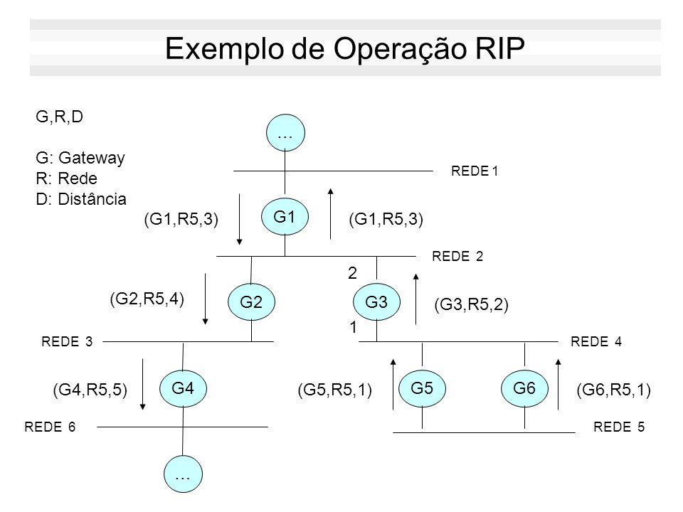Elementos de uma rede RIP Ativos: envia e escuta mensagens RIP Passivos: apenas escuta mensagens RIP Rede 200.192.0.0/24 Rede 200.134.51.0/24 ATIVO Us