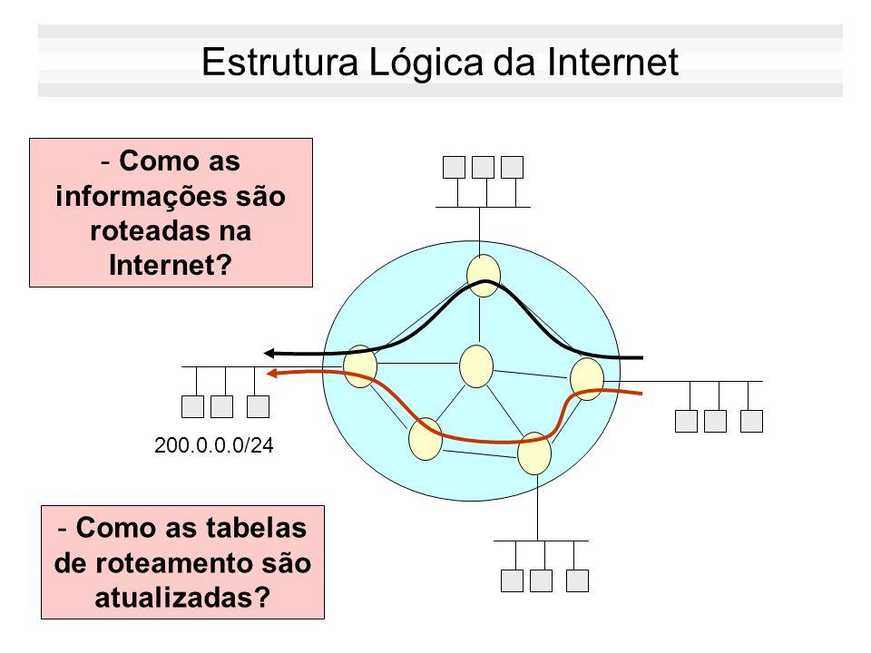 Exemplo Redes backbones interligam multiplas redes de acesso A rede Internet é formada pela interligação desses backbones Rede Backbone Rede Backbone