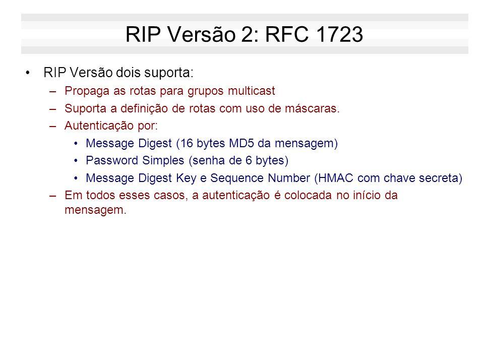 RIP Versão 1: RFC 1058 PROBLEMAS: –Não propaga máscaras (só permite definir rotas segundo as classes A, B e C). –Envia mensagens em Broadcast. –Não po