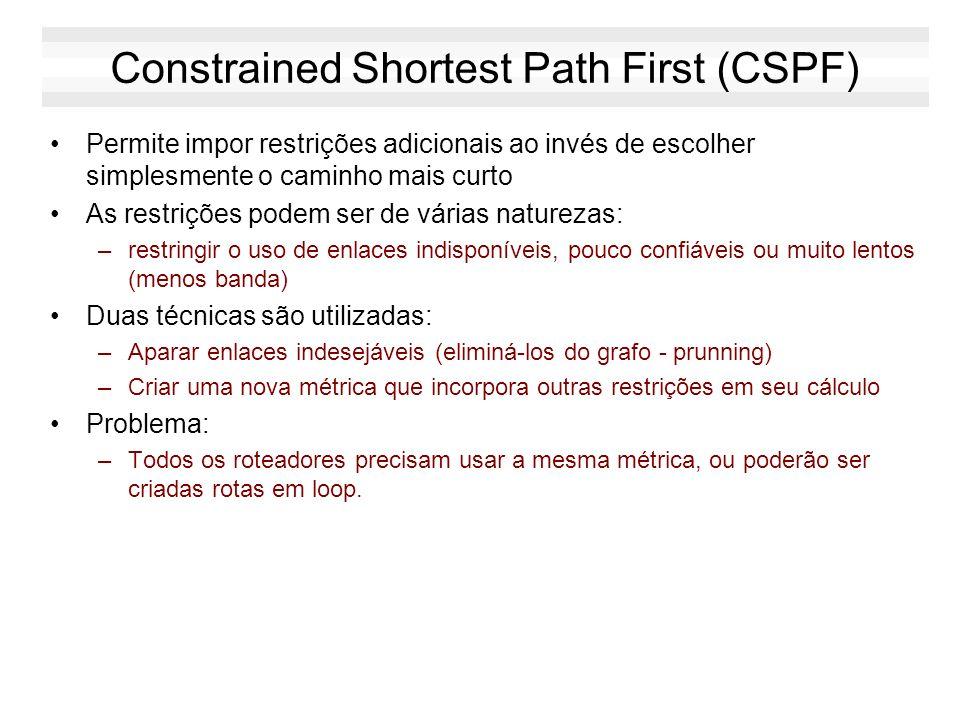 Dijkstra Shortest Path First (SPF) Princípio: –Encontrar o menor caminho entre um dos nós da rede e todos os demais Se D pertence ao melhor caminho en