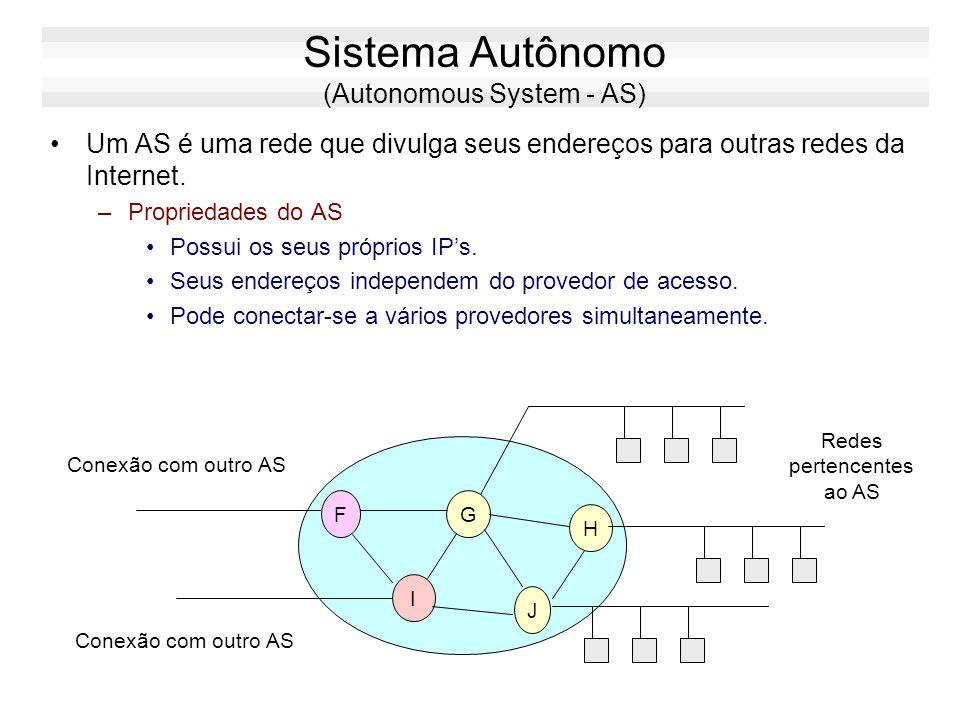 Estrutura Lógica da Internet A internet é estruturada na forma de sistemas autônomos: A B C D E FG I J H SISTEMA AUTÔNOMO 1 SISTEMA AUTÔNOMO 2 X Y Z S