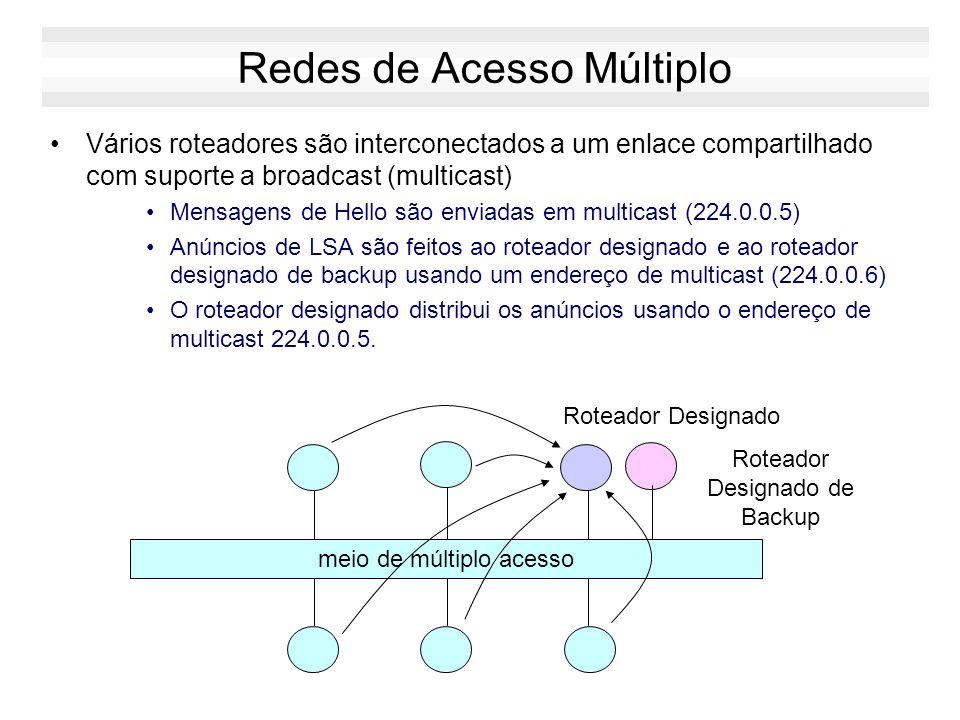 Mensagens OSPF Tipo de Estado de Enlace Identificador do Estado de Enlace Byte 1 Byte 2Byte 3Byte 4 Roteador Anunciante Outros Anúncios de Estado de E