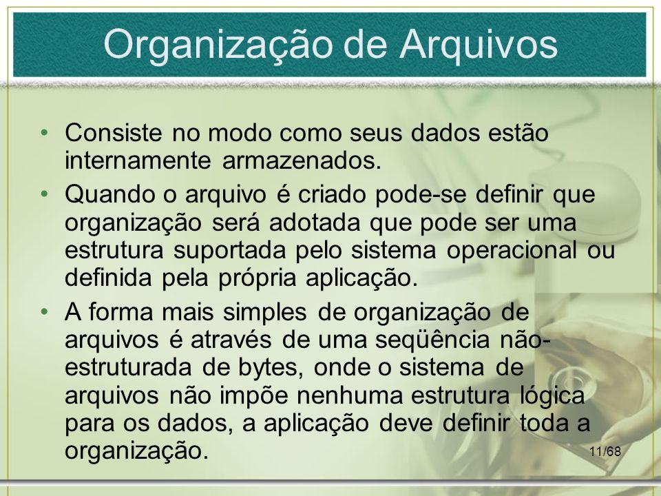11/68 Organização de Arquivos Consiste no modo como seus dados estão internamente armazenados. Quando o arquivo é criado pode-se definir que organizaç