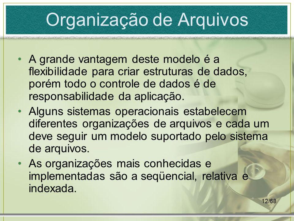 12/68 Organização de Arquivos A grande vantagem deste modelo é a flexibilidade para criar estruturas de dados, porém todo o controle de dados é de res