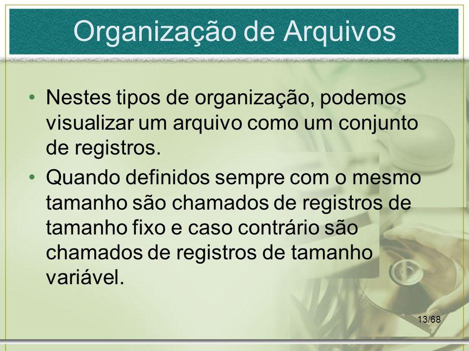 13/68 Organização de Arquivos Nestes tipos de organização, podemos visualizar um arquivo como um conjunto de registros. Quando definidos sempre com o
