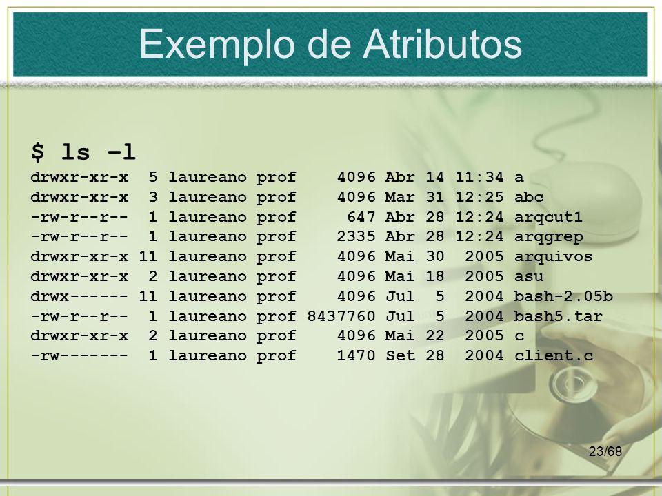 23/68 Exemplo de Atributos $ ls –l drwxr-xr-x 5 laureano prof 4096 Abr 14 11:34 a drwxr-xr-x 3 laureano prof 4096 Mar 31 12:25 abc -rw-r--r-- 1 laurea