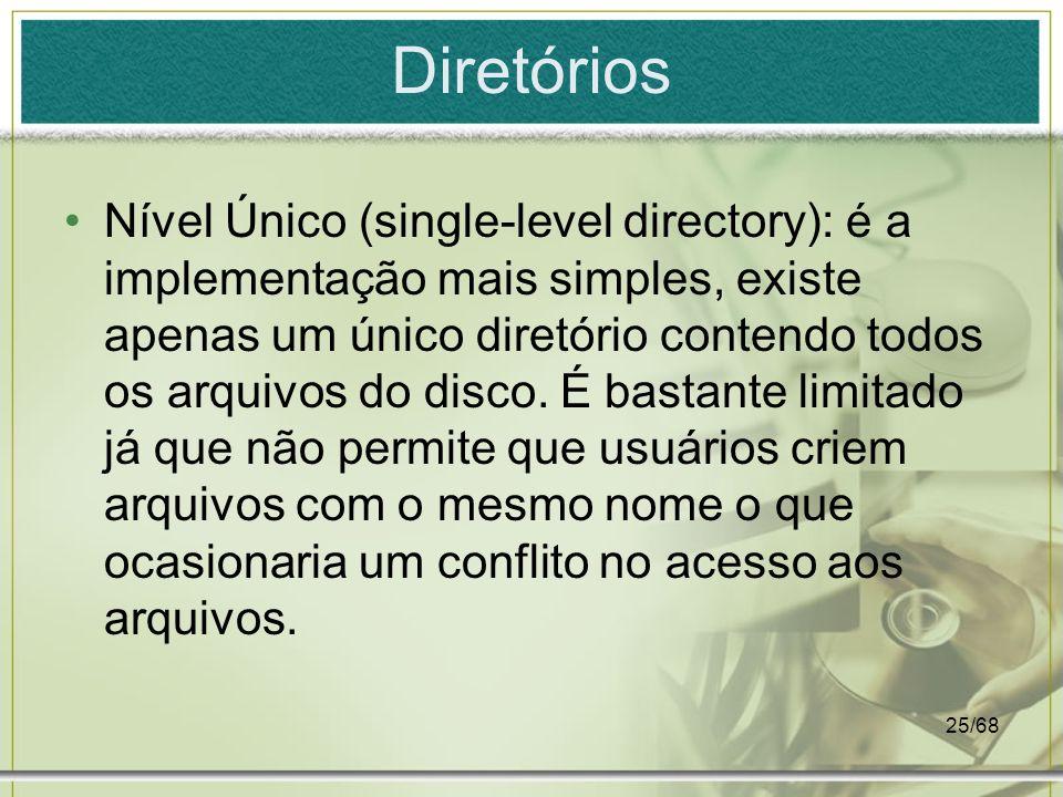 25/68 Diretórios Nível Único (single-level directory): é a implementação mais simples, existe apenas um único diretório contendo todos os arquivos do
