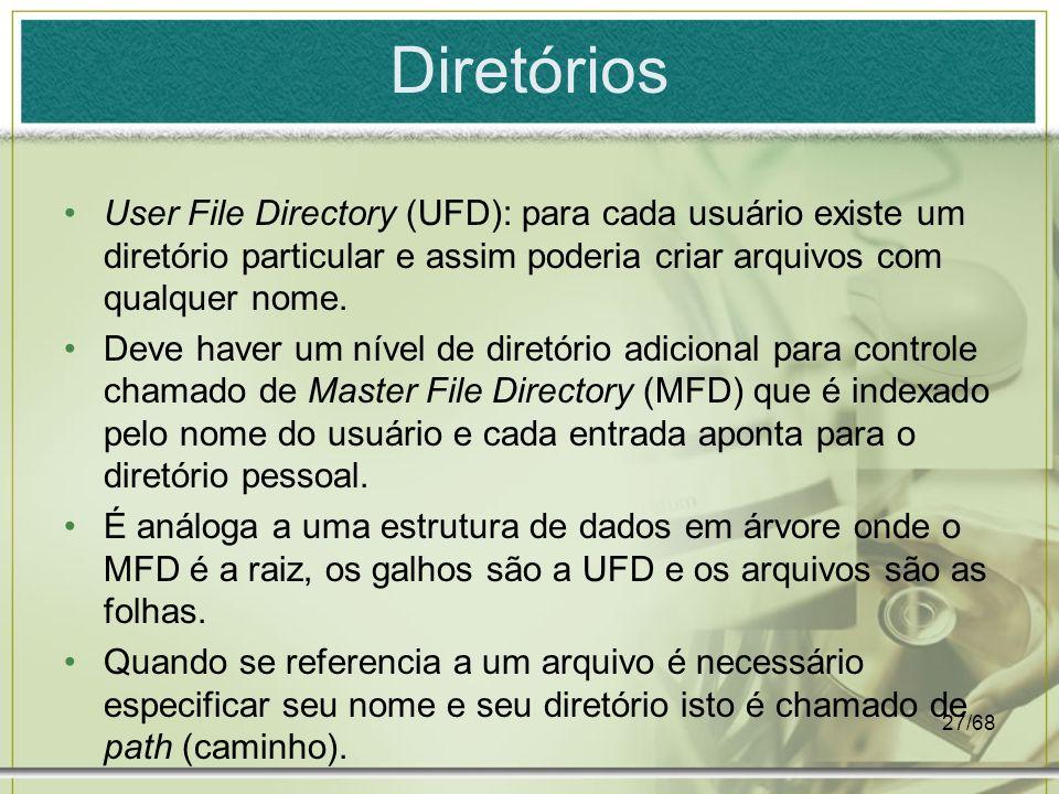 27/68 Diretórios User File Directory (UFD): para cada usuário existe um diretório particular e assim poderia criar arquivos com qualquer nome. Deve ha