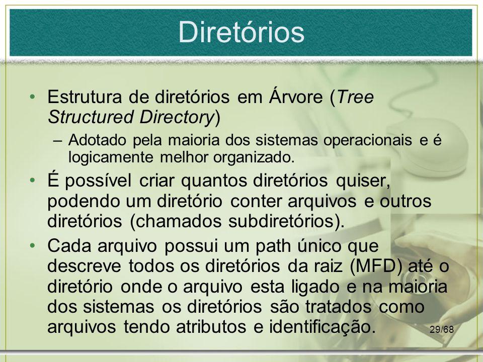 29/68 Diretórios Estrutura de diretórios em Árvore (Tree Structured Directory) –Adotado pela maioria dos sistemas operacionais e é logicamente melhor