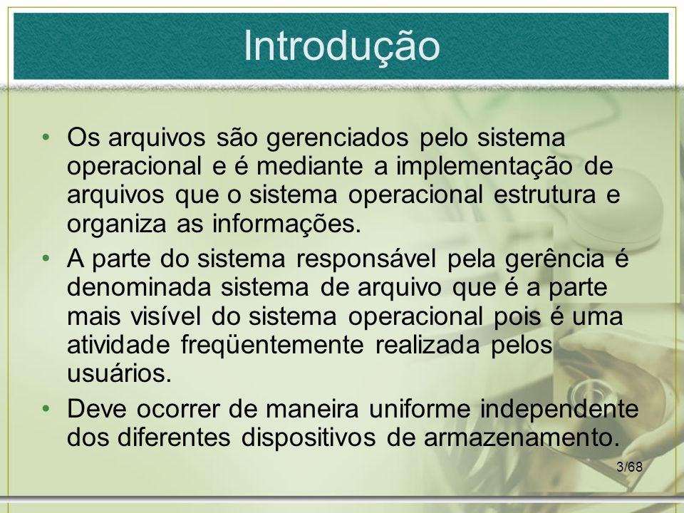 3/68 Introdução Os arquivos são gerenciados pelo sistema operacional e é mediante a implementação de arquivos que o sistema operacional estrutura e or