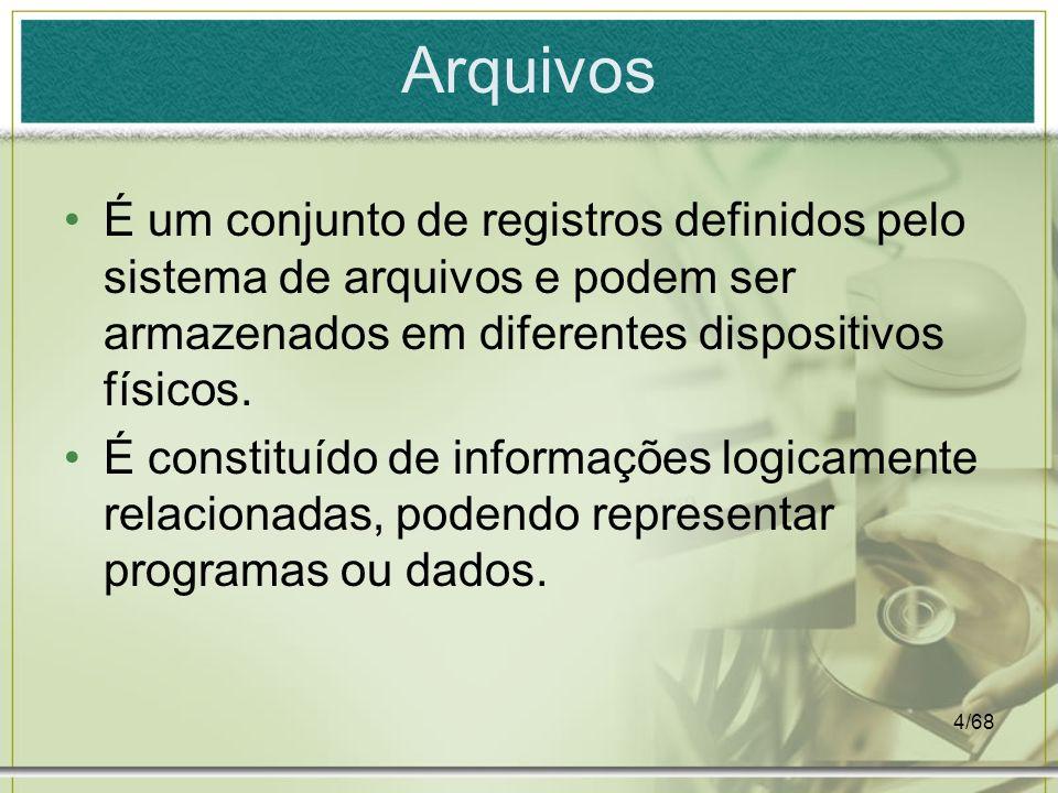 4/68 Arquivos É um conjunto de registros definidos pelo sistema de arquivos e podem ser armazenados em diferentes dispositivos físicos. É constituído