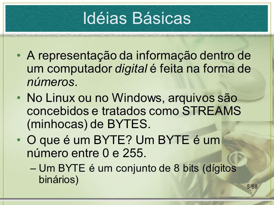 5/68 Idéias Básicas A representação da informação dentro de um computador digital é feita na forma de números. No Linux ou no Windows, arquivos são co