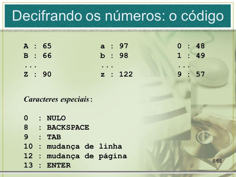 6/68 Decifrando os números: o código A : 65 B : 66... Z : 90 a : 97 b : 98... z : 122 0 : 48 1 : 49... 9 : 57 Caracteres especiais : 0 : NULO 8 : BACK