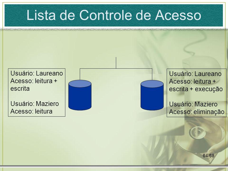 64/68 Lista de Controle de Acesso Usuário: Laureano Acesso: leitura + escrita + execução Usuário: Maziero Acesso: eliminação Usuário: Laureano Acesso: