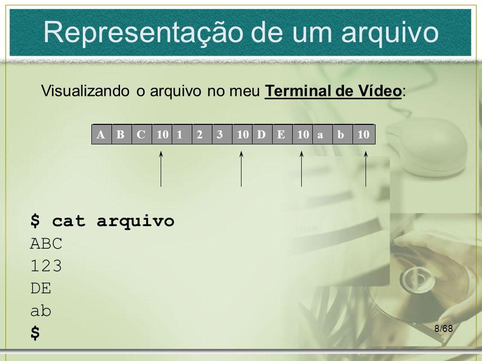 8/68 Representação de um arquivo ABC10123 DE ab $ cat arquivo ABC 123 DE ab $ Visualizando o arquivo no meu Terminal de Vídeo: