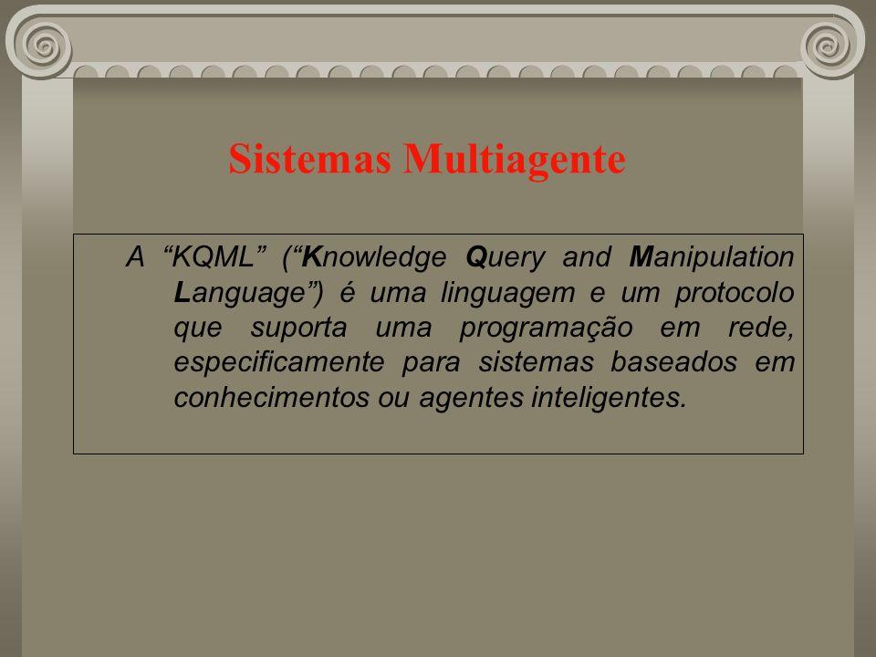 Sistemas Multiagente A KQML (Knowledge Query and Manipulation Language) é uma linguagem e um protocolo que suporta uma programação em rede, especifica