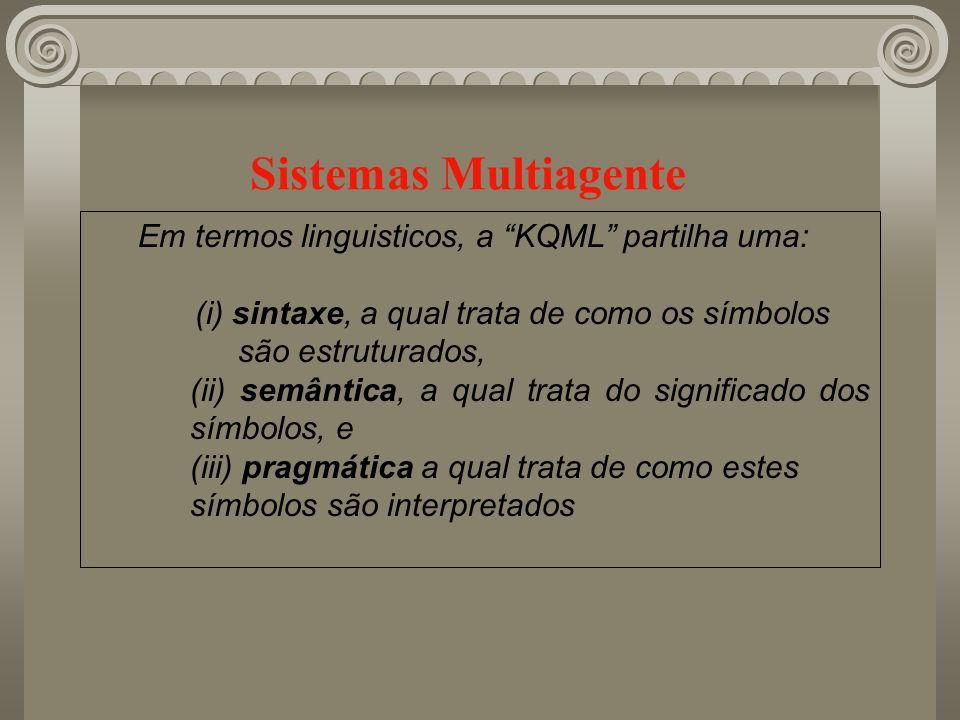 Sistemas Multiagente Em termos linguisticos, a KQML partilha uma: (i) sintaxe, a qual trata de como os símbolos são estruturados, (ii) semântica, a qu